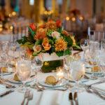 warm orange wedding centerpiece
